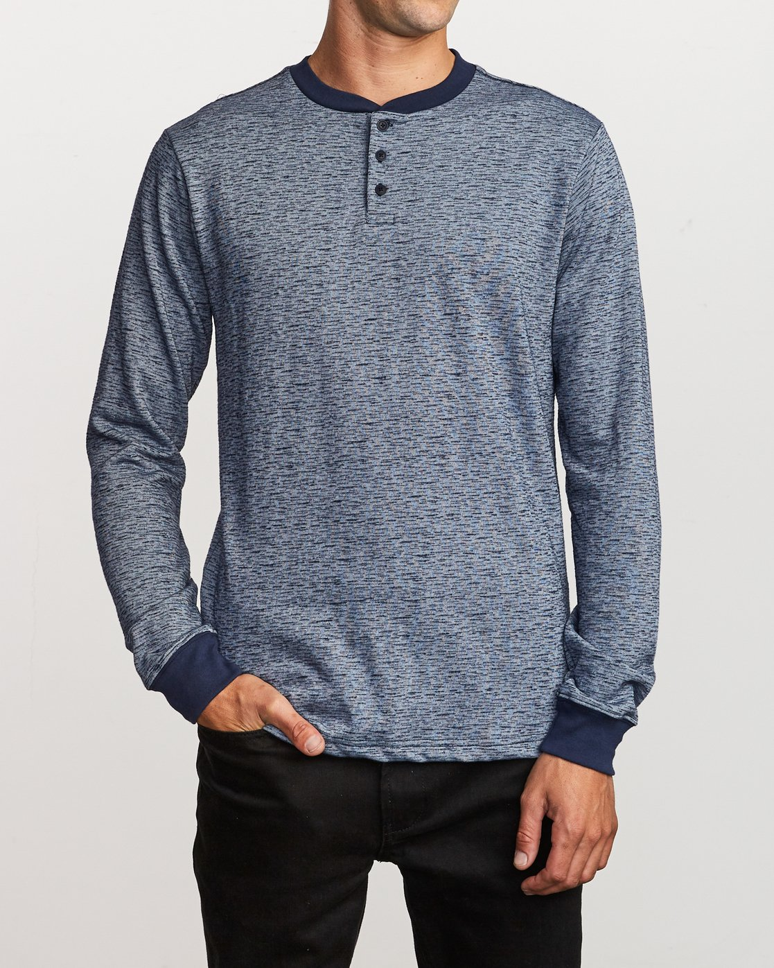 1 Lavish Henley Knit T-Shirt Blue M954VRLH RVCA