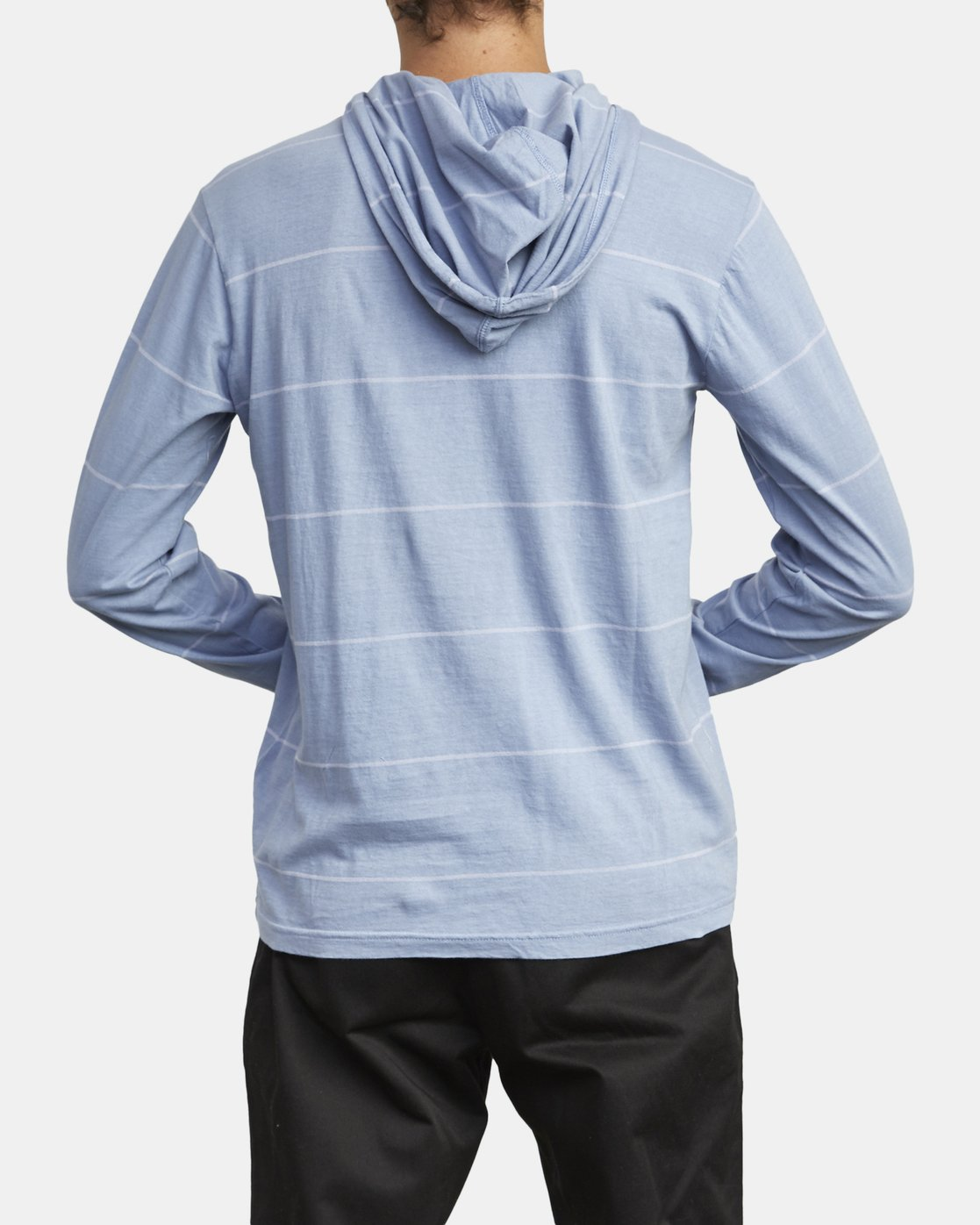 3 PTC STRIPE HOODED LONG SLEEVE TEE Blue M9553RPS RVCA