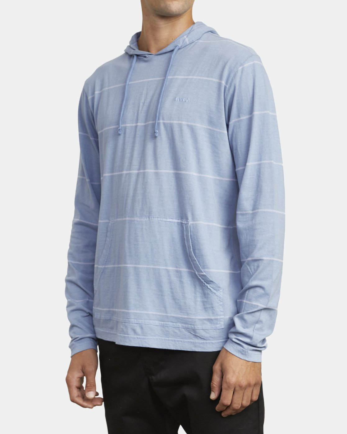 4 PTC STRIPE HOODED LONG SLEEVE TEE Blue M9553RPS RVCA