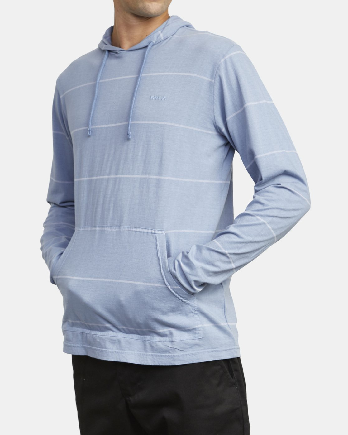 6 PTC STRIPE HOODED LONG SLEEVE TEE Blue M9553RPS RVCA