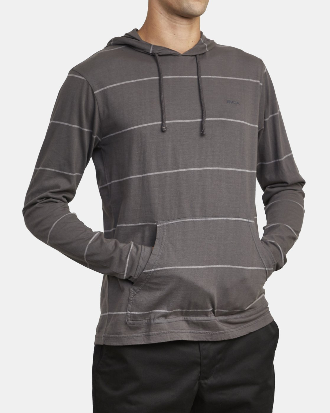 5 PTC STRIPE HOODED LONG SLEEVE TEE Black M9553RPS RVCA