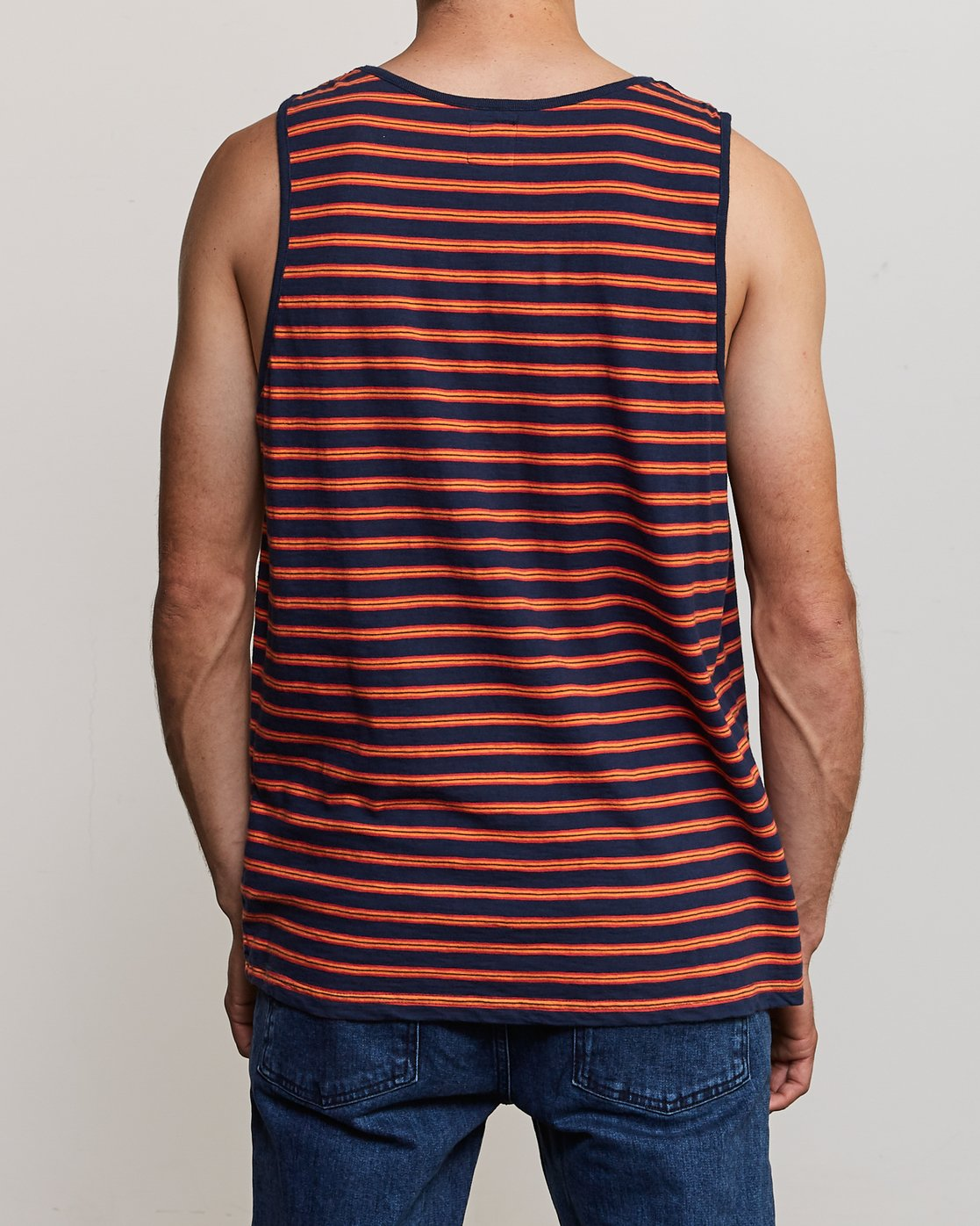 3 Vincent Stripe Knit Tank Top Blue M981URVS RVCA