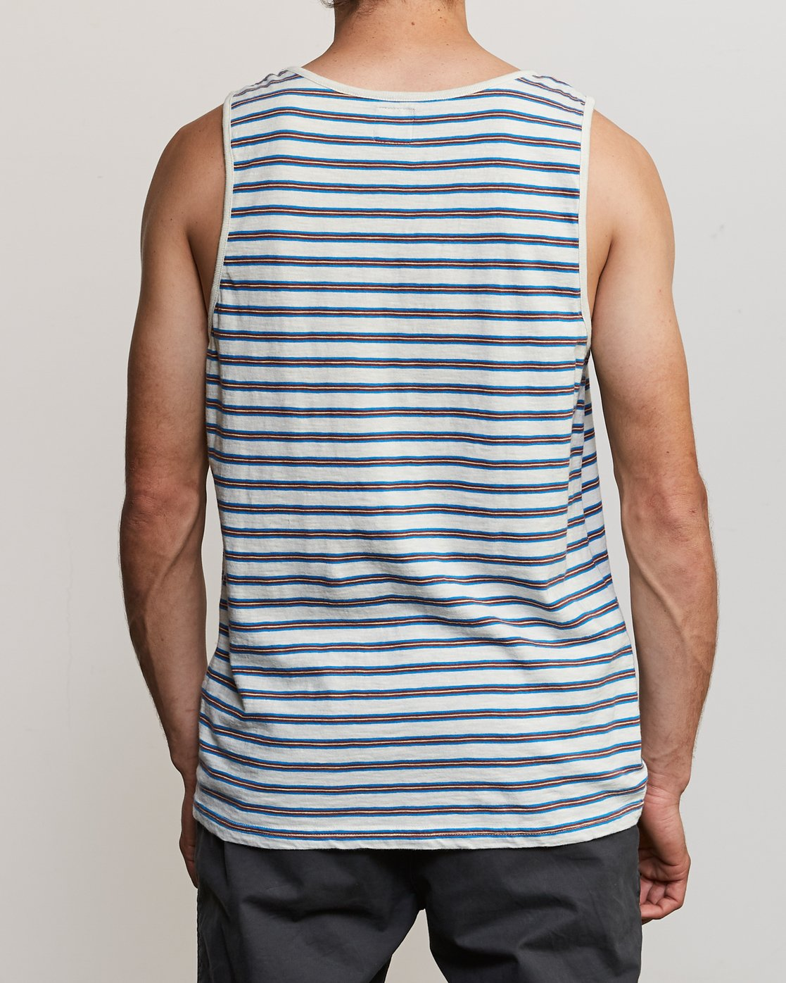 3 Vincent Stripe Knit Tank Top Silver M981URVS RVCA