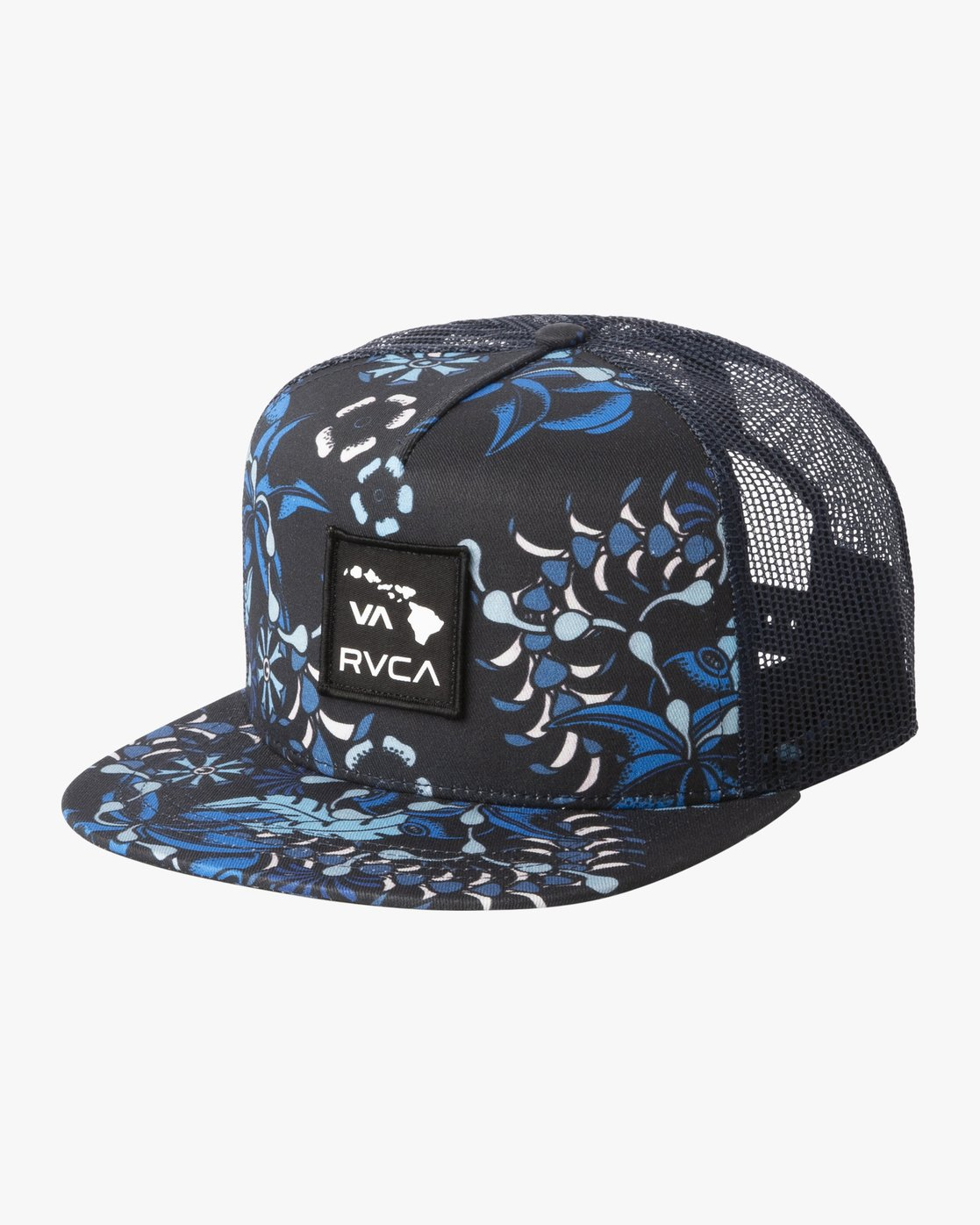 0 Island Patch Trucker Hat Blue MAHWNRIP RVCA