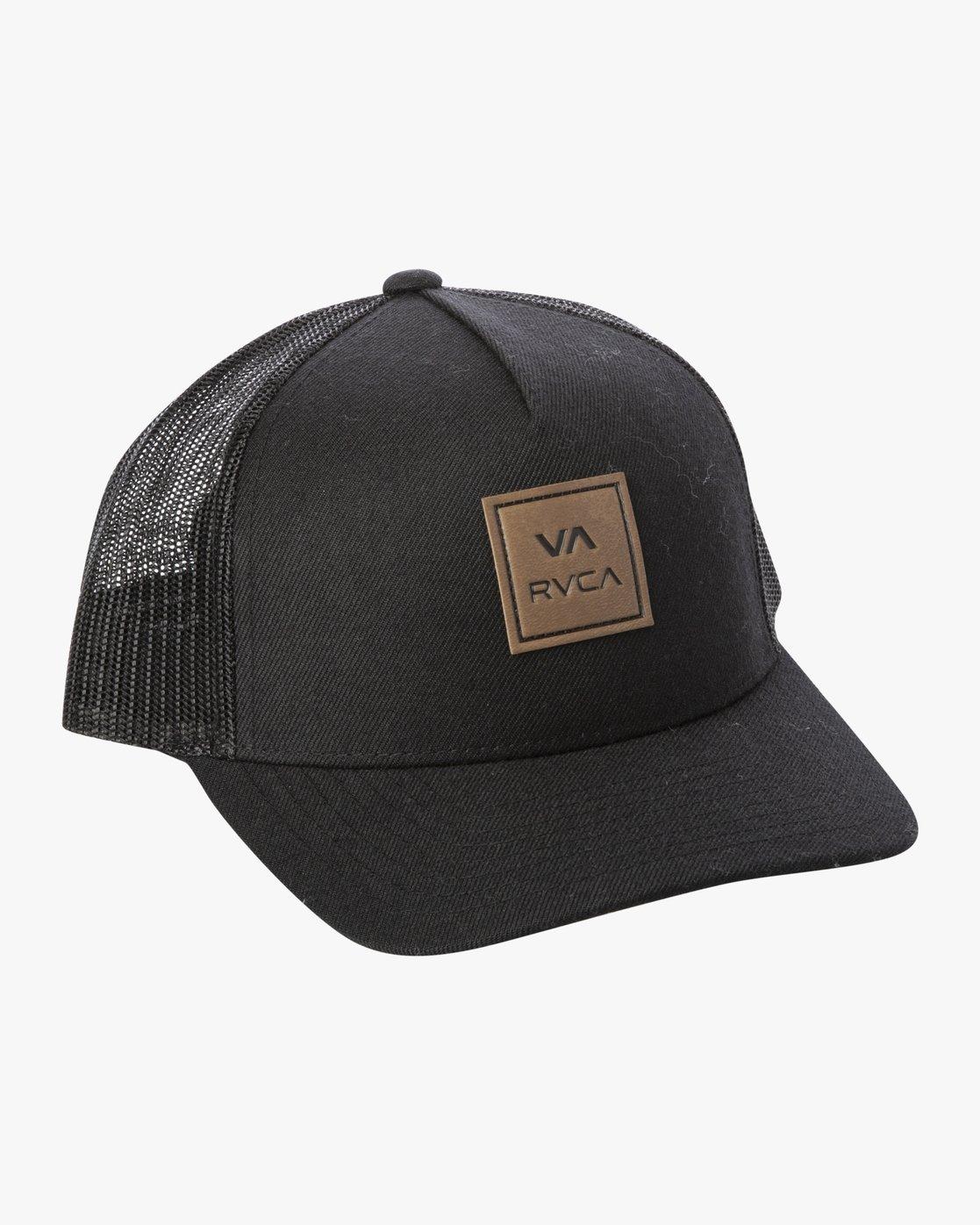 1 VA All The Way Curved Brim Trucker Hat Black MAHWPRVA RVCA
