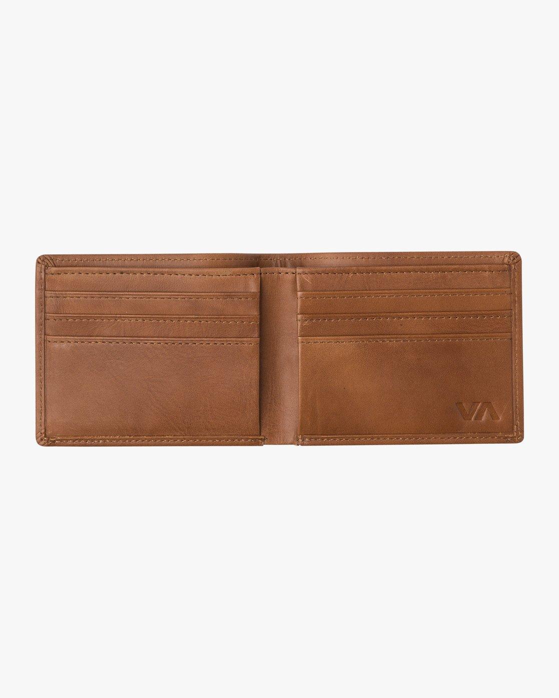 3 Crest Bifold Wallet Beige MAWAQRCB RVCA