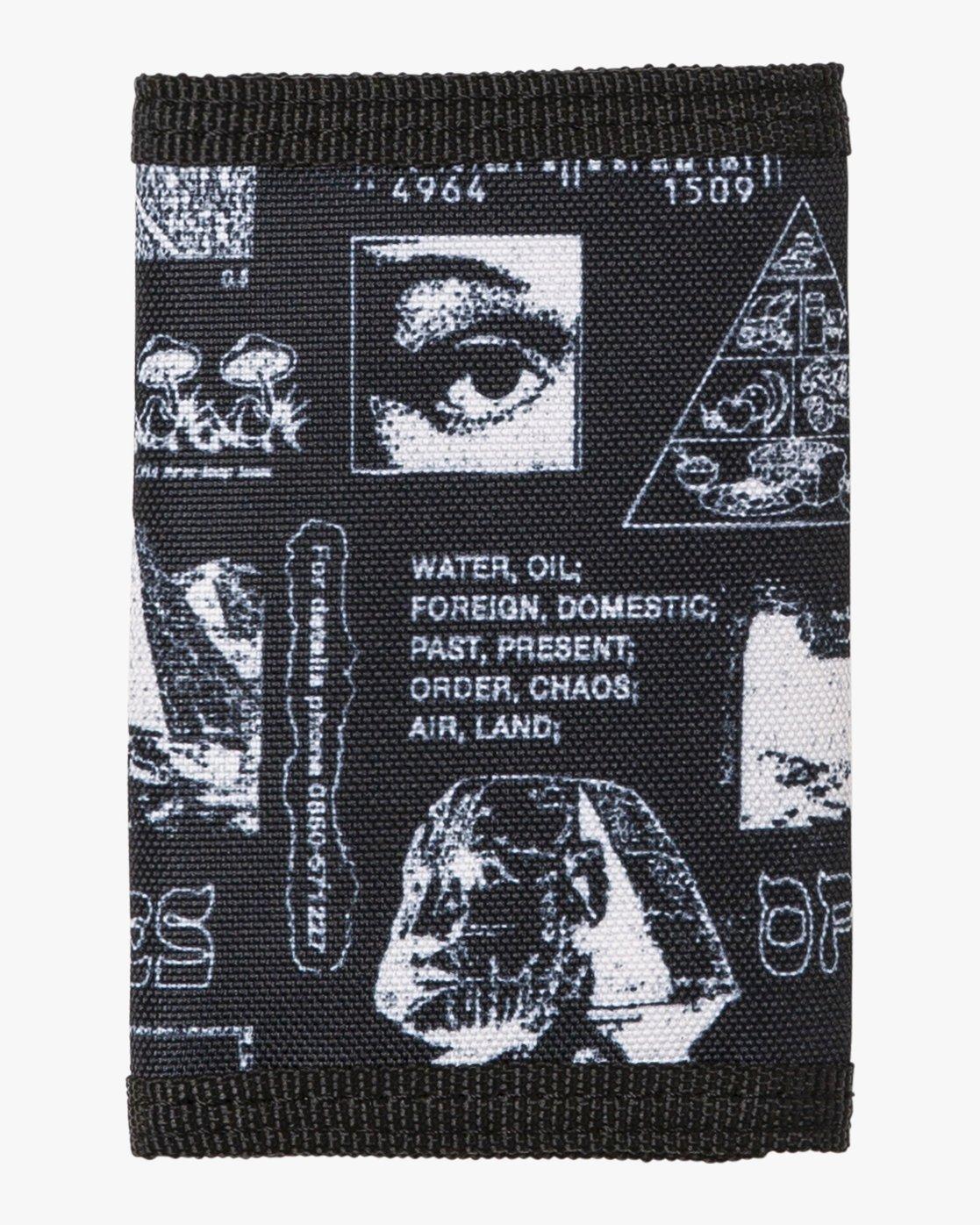 2 RVCA Print Trifold Wallet Black MAWASRPT RVCA