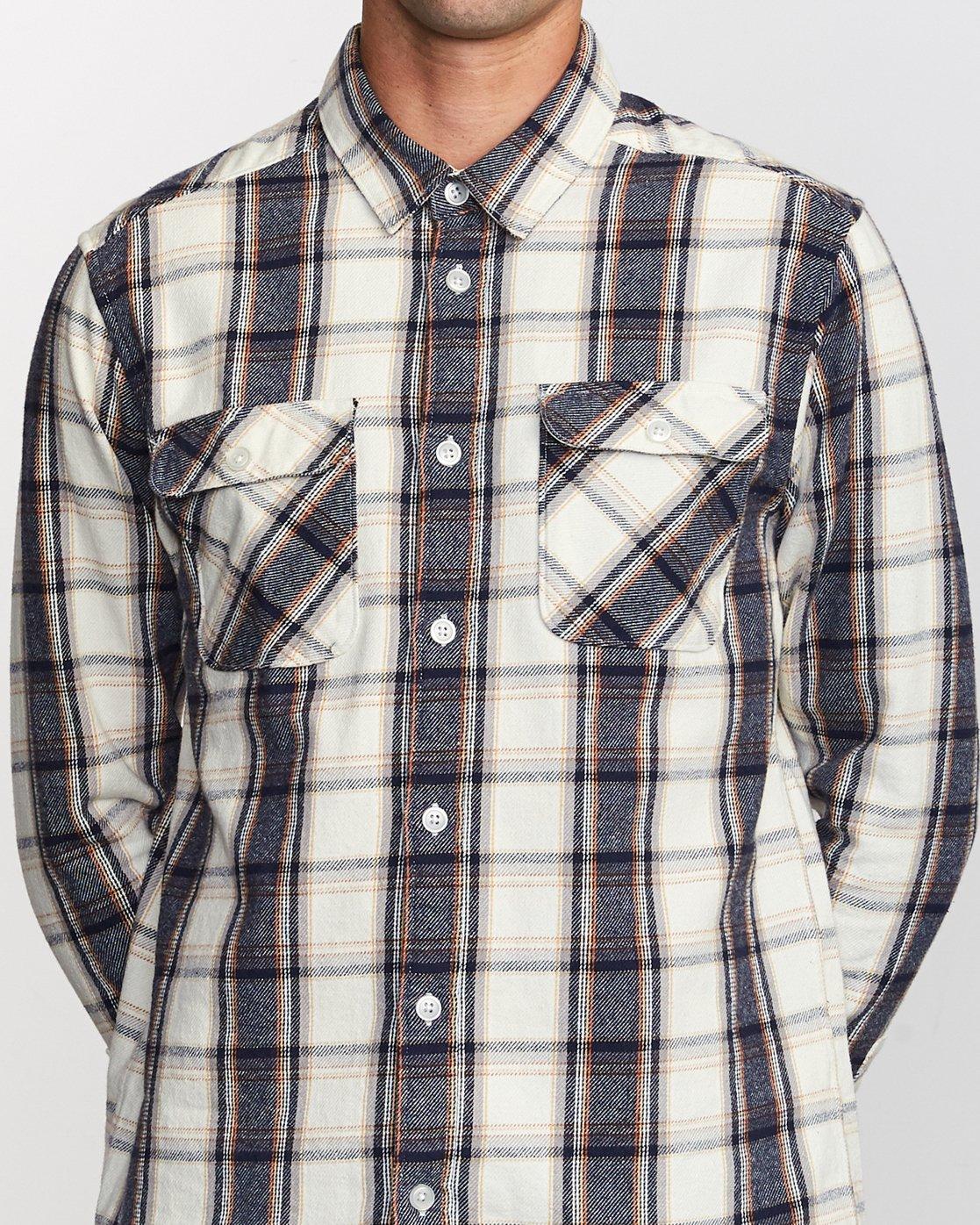 3 That'll Work Flannel Long Sleeve Shirt Silver MG519TWF RVCA