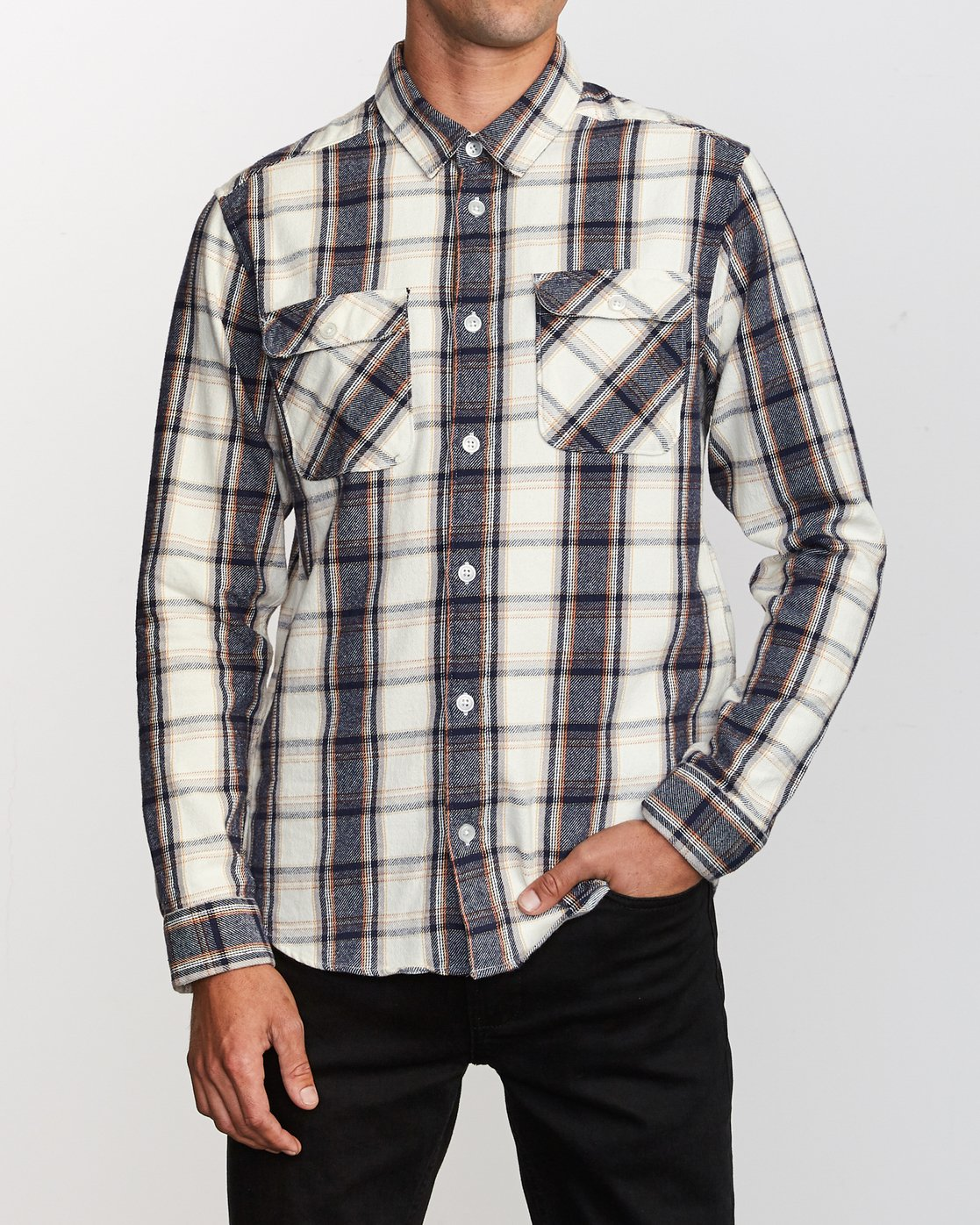 1 That'll Work Flannel Long Sleeve Shirt Silver MG519TWF RVCA