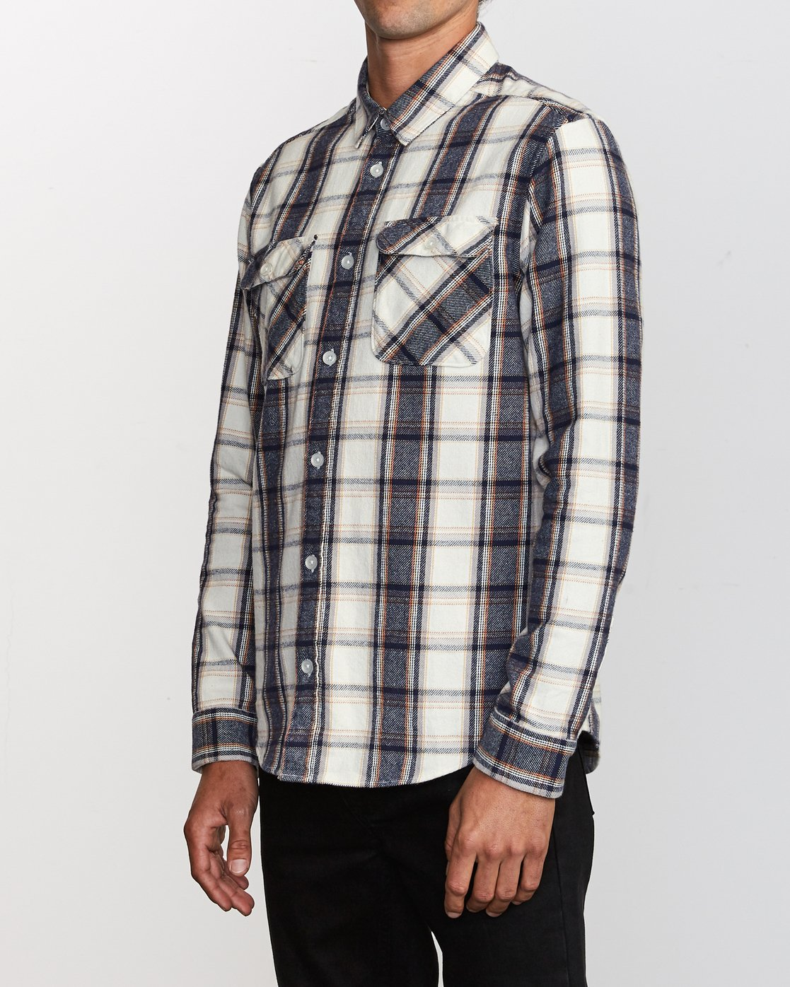 2 That'll Work Flannel Long Sleeve Shirt Silver MG519TWF RVCA