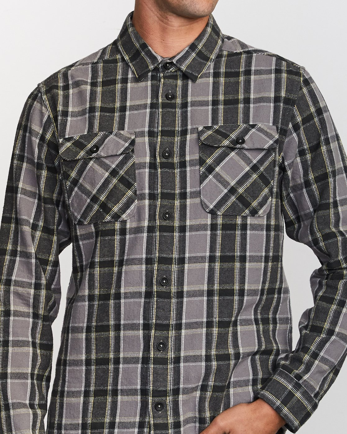 4 That'll Work Flannel Long Sleeve Shirt Grey MG519TWF RVCA