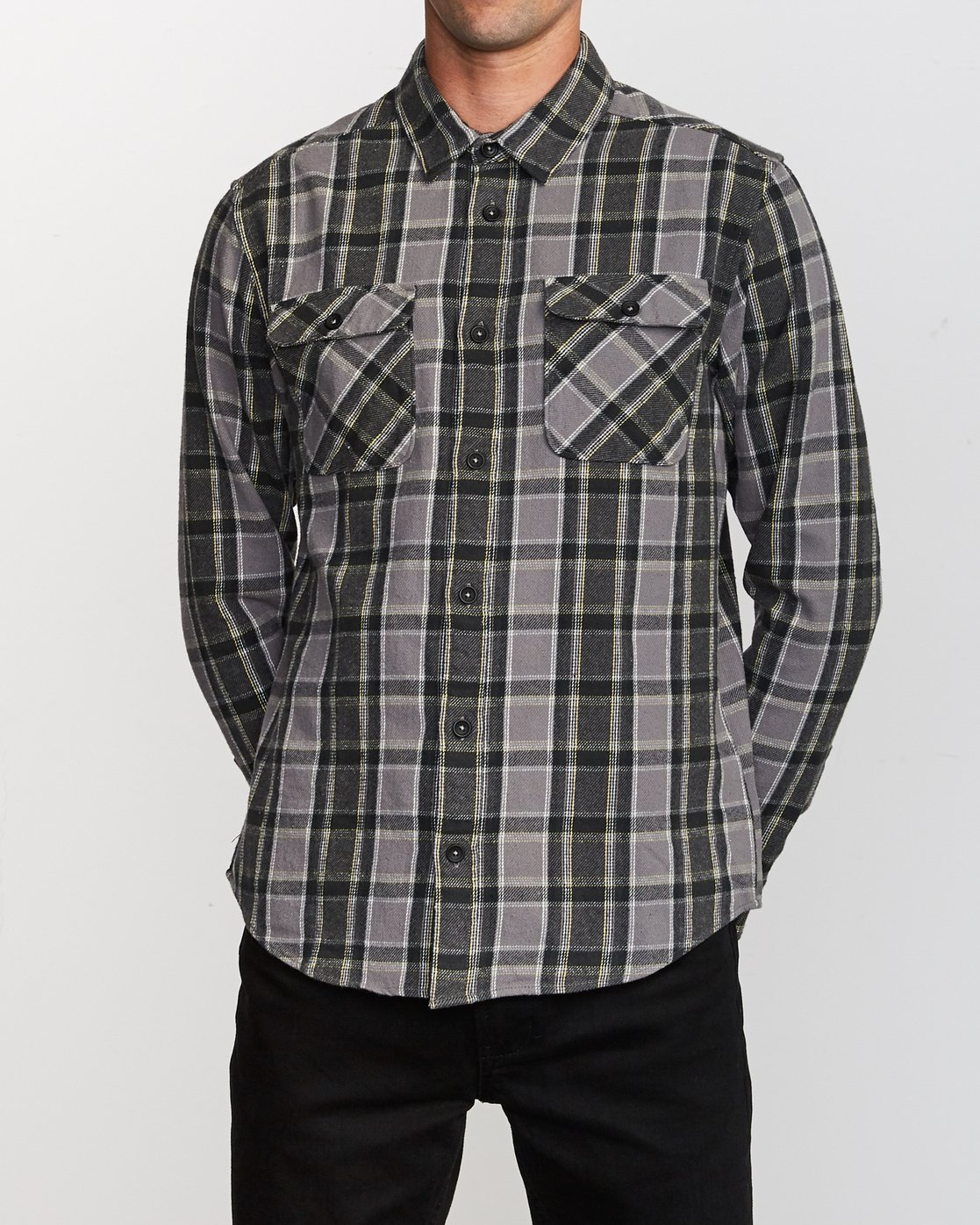 1 That'll Work Flannel Long Sleeve Shirt Grey MG519TWF RVCA