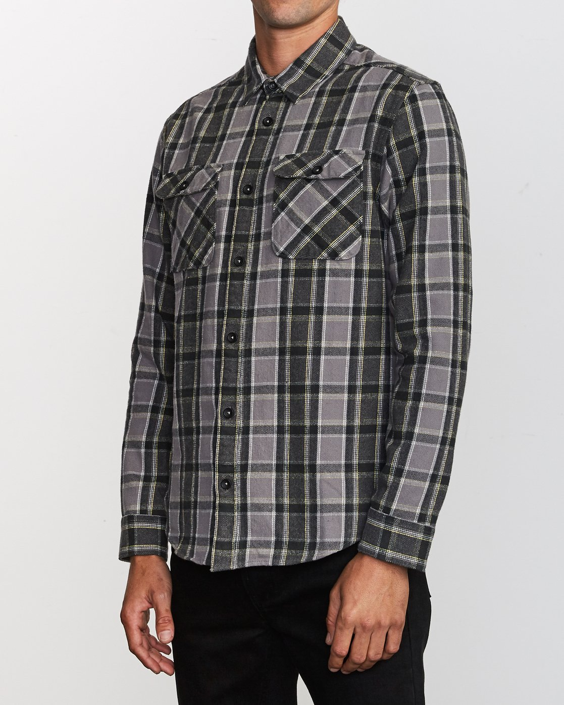 3 That'll Work Flannel Long Sleeve Shirt Grey MG519TWF RVCA