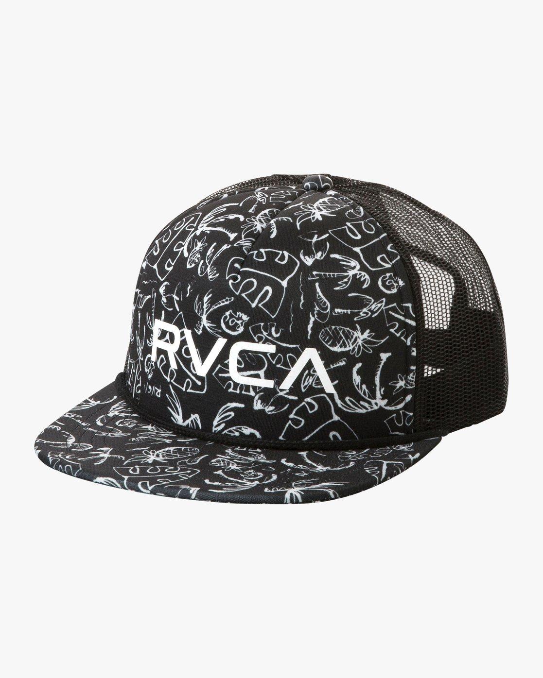 7d5f69288ceb22 0 RVCA Foamy Trucker Hat Black MGAHWRFT RVCA