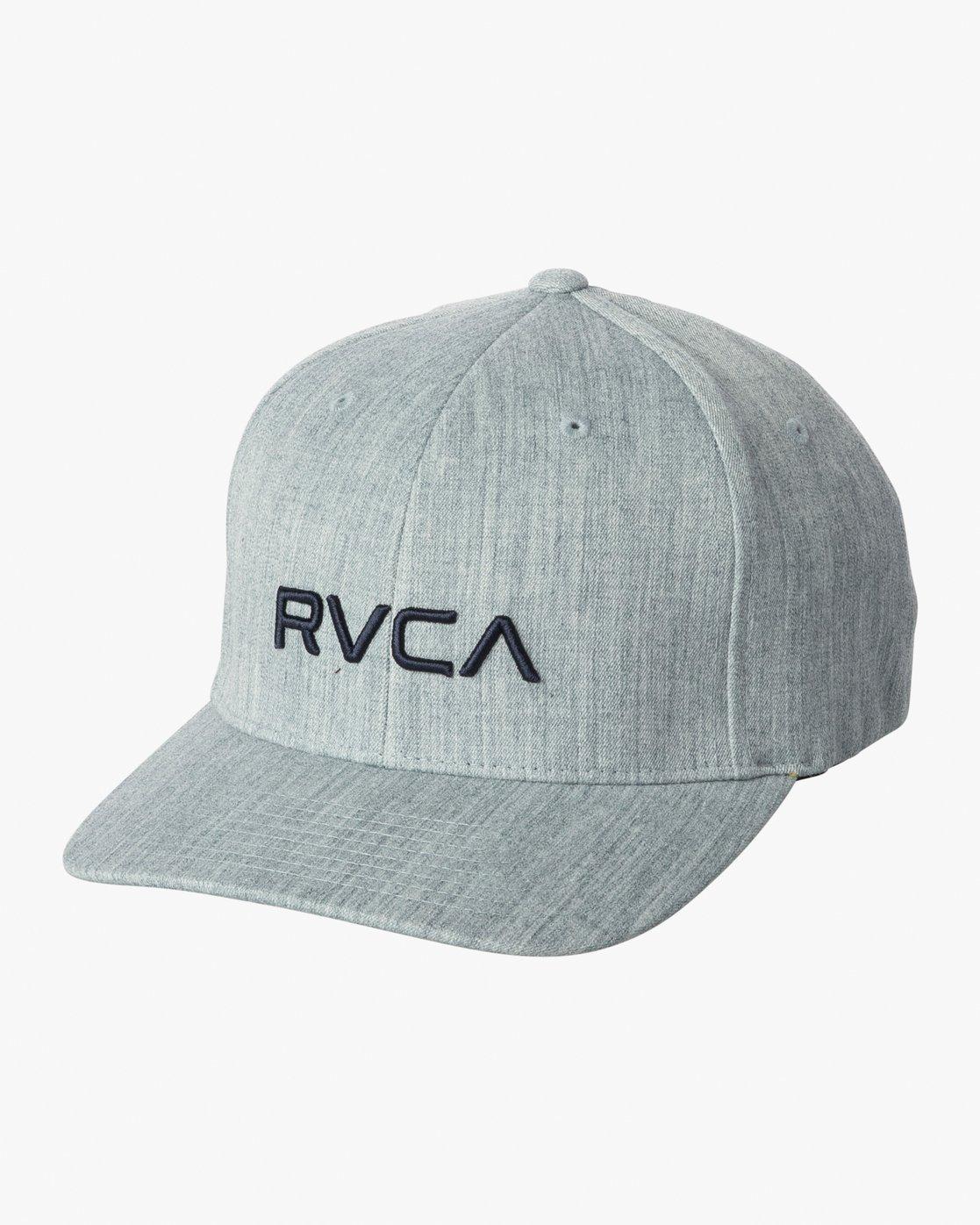 0 RVCA Flex Fit Baseball Hat Blue MHAHWRFF RVCA