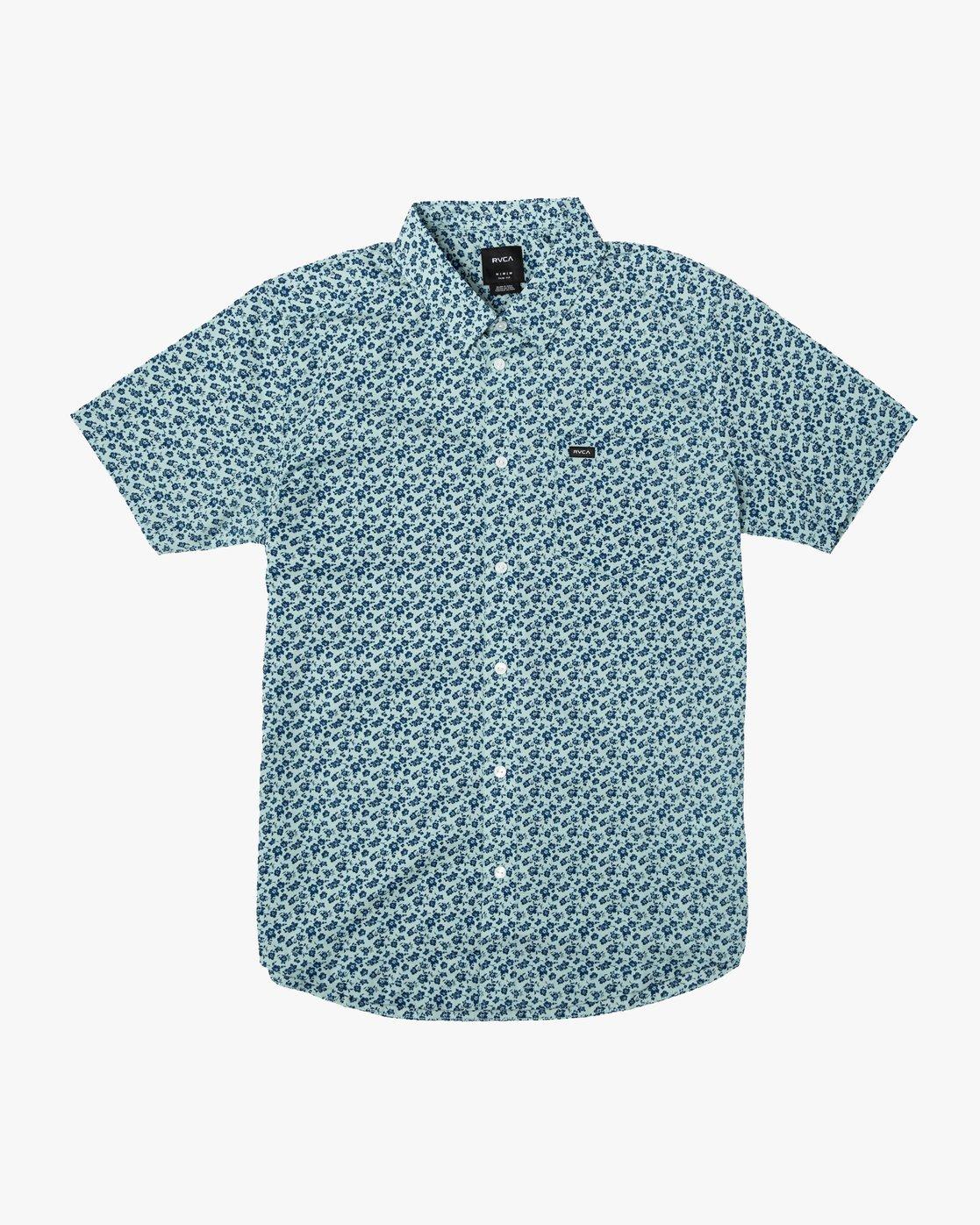 0 Porcelain Printed Short Sleeve Shirt Blue MK507POR RVCA
