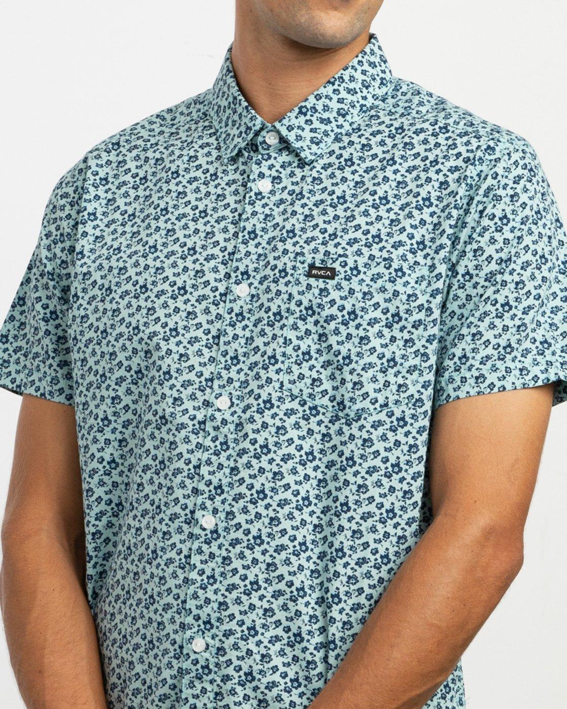 4 Porcelain Printed Short Sleeve Shirt Blue MK507POR RVCA