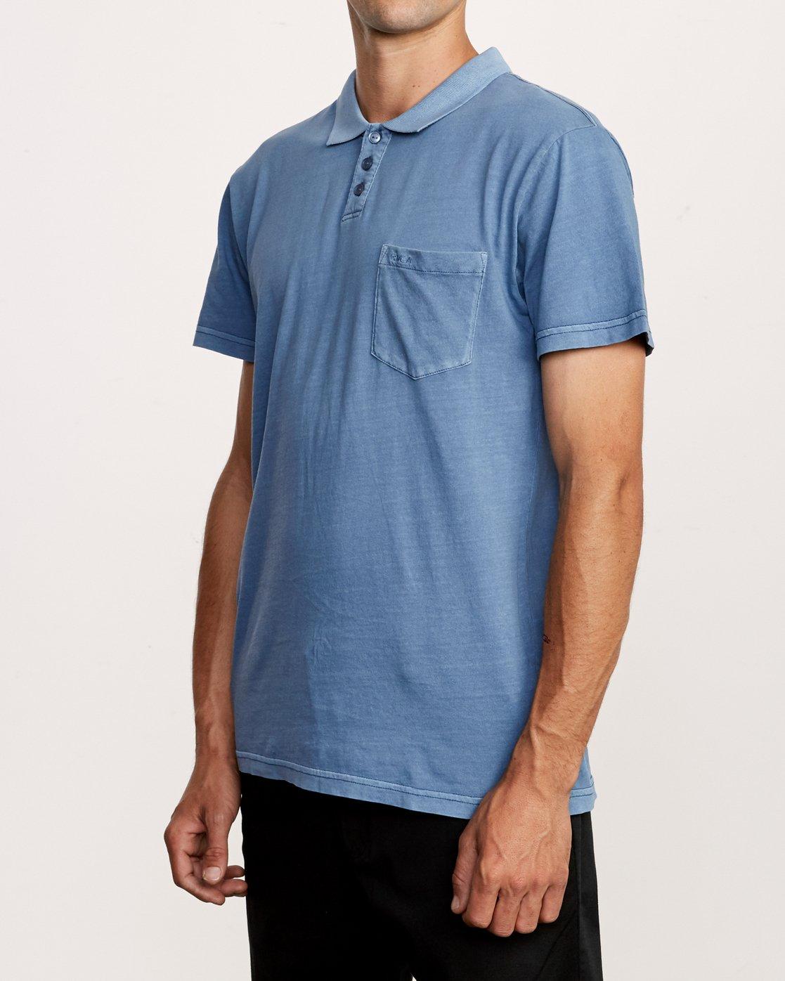 2 PTC Pigment Polo Shirt Blue MK908PPP RVCA