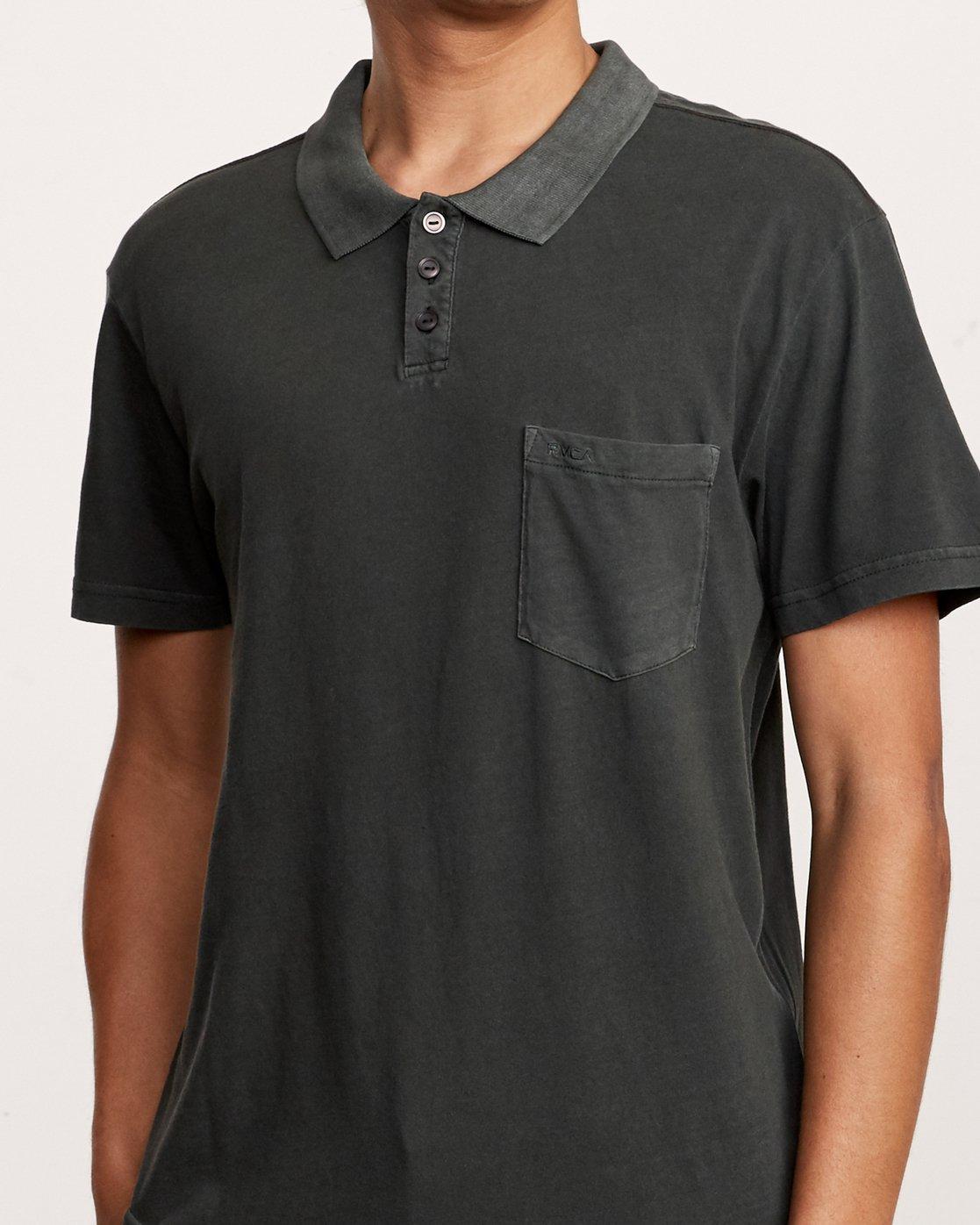 4 PTC Pigment Polo Shirt Black MK908PPP RVCA