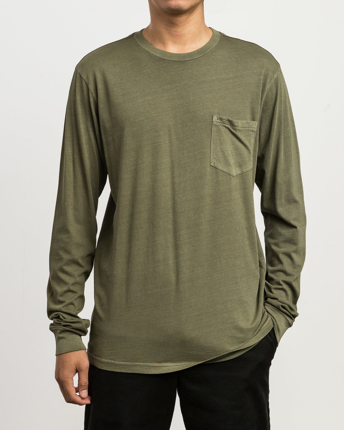 1 PTC Pigment Long Sleeve T-Shirt Green ML921PPL RVCA