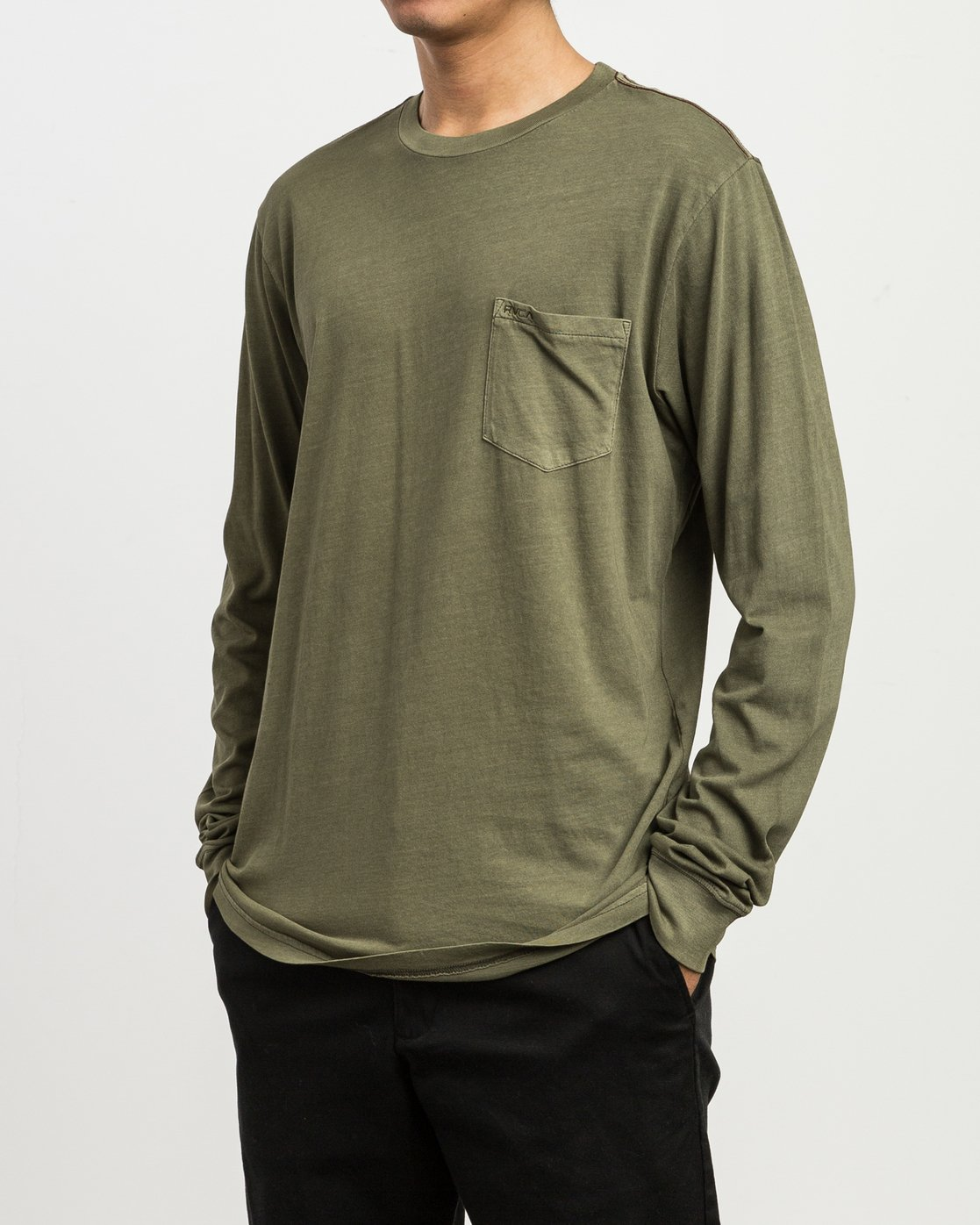 2 PTC Pigment Long Sleeve T-Shirt Green ML921PPL RVCA