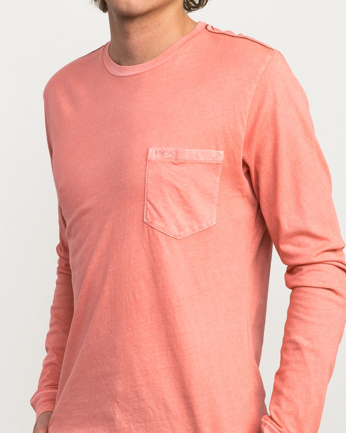 4 PTC Pigment Long Sleeve T-Shirt Pink ML921PPL RVCA