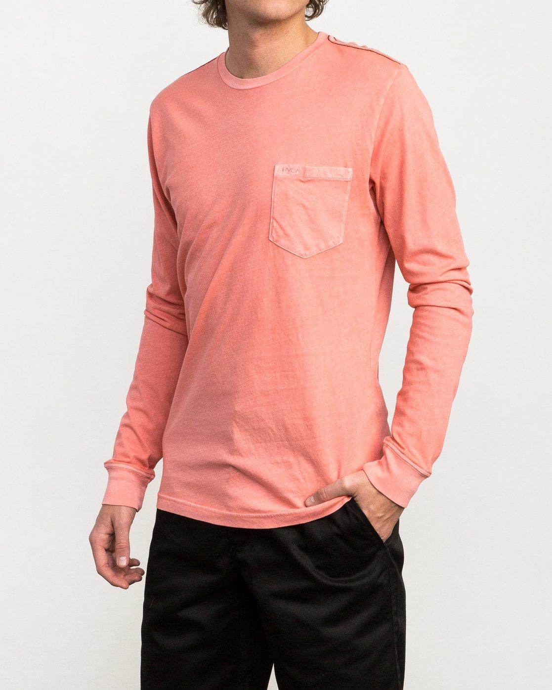 2 PTC Pigment Long Sleeve T-Shirt Pink ML921PPL RVCA