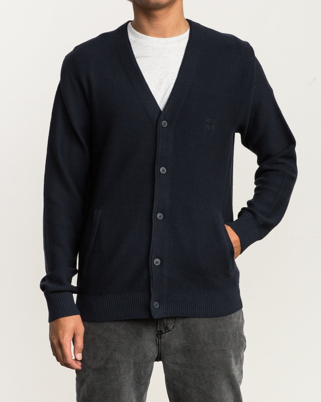 1 Cali Button-Up Cardigan Blue MV40SRCC RVCA