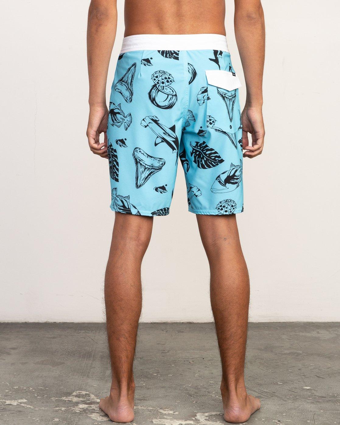 "4 VA Trunk Print - 19"" Boardshorts for Men Blue N1BSRJRVP9 RVCA"