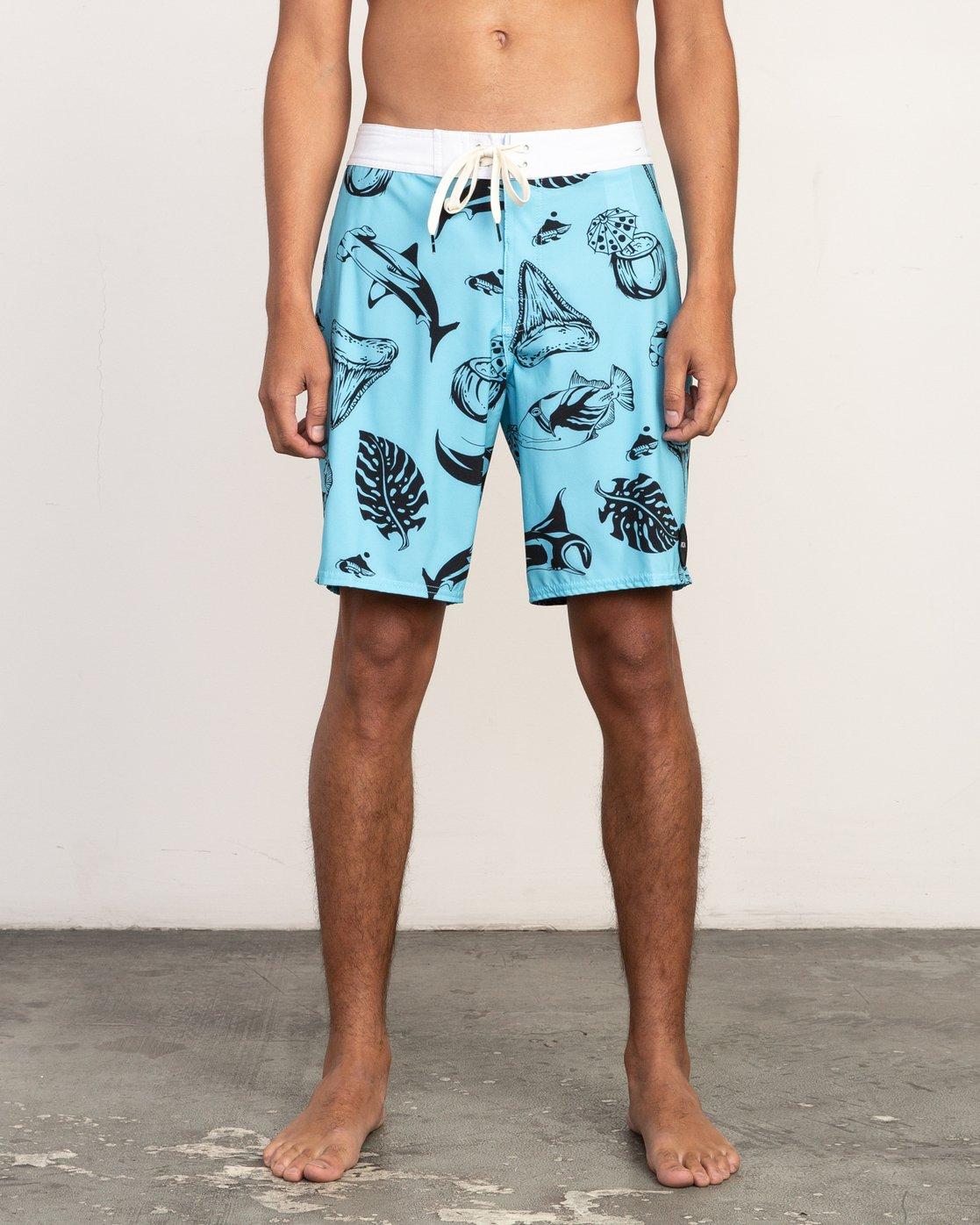 "1 VA Trunk Print - 19"" Boardshorts for Men Blue N1BSRJRVP9 RVCA"