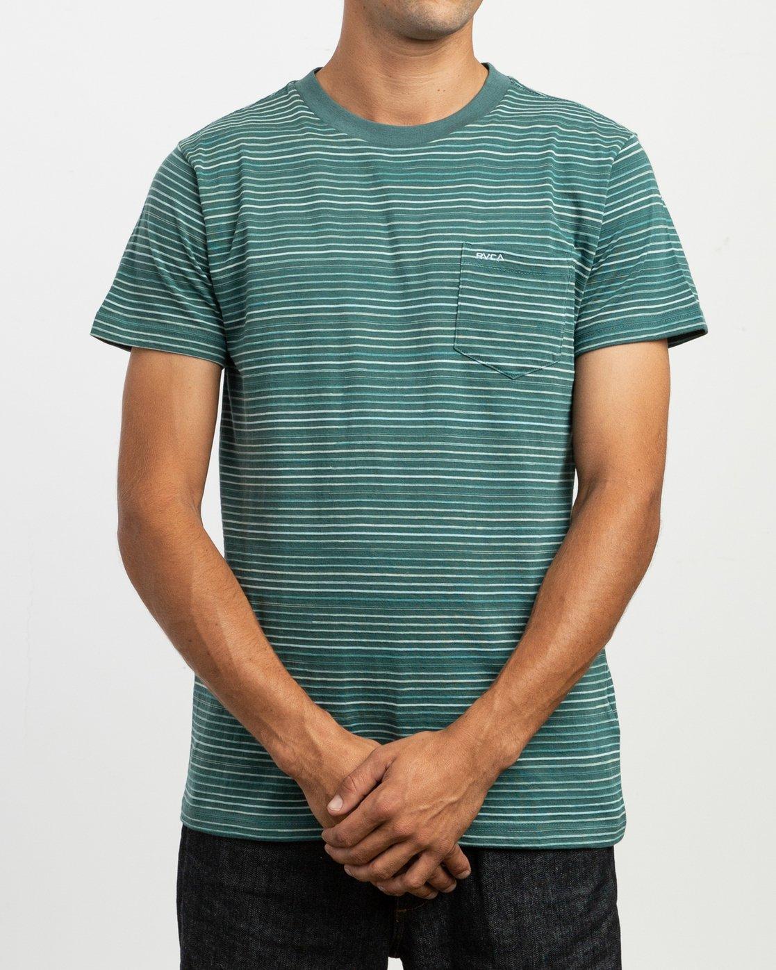 1 Warren Stripe T-Shirt Green N1KTRBRVP9 RVCA