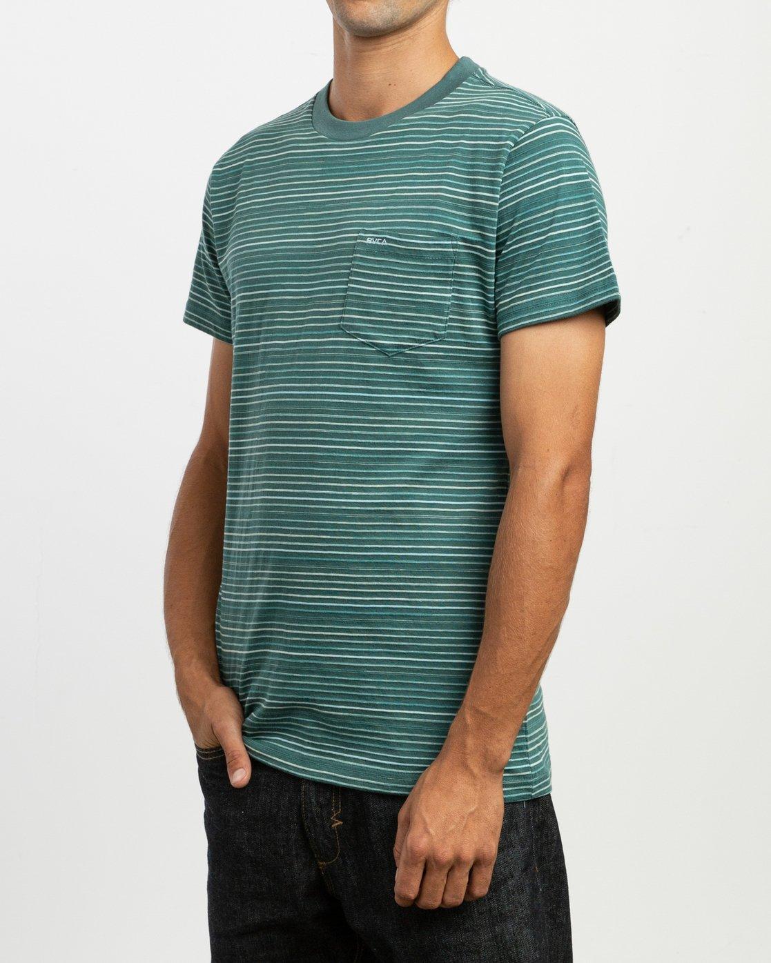 2 Warren Stripe T-Shirt Green N1KTRBRVP9 RVCA