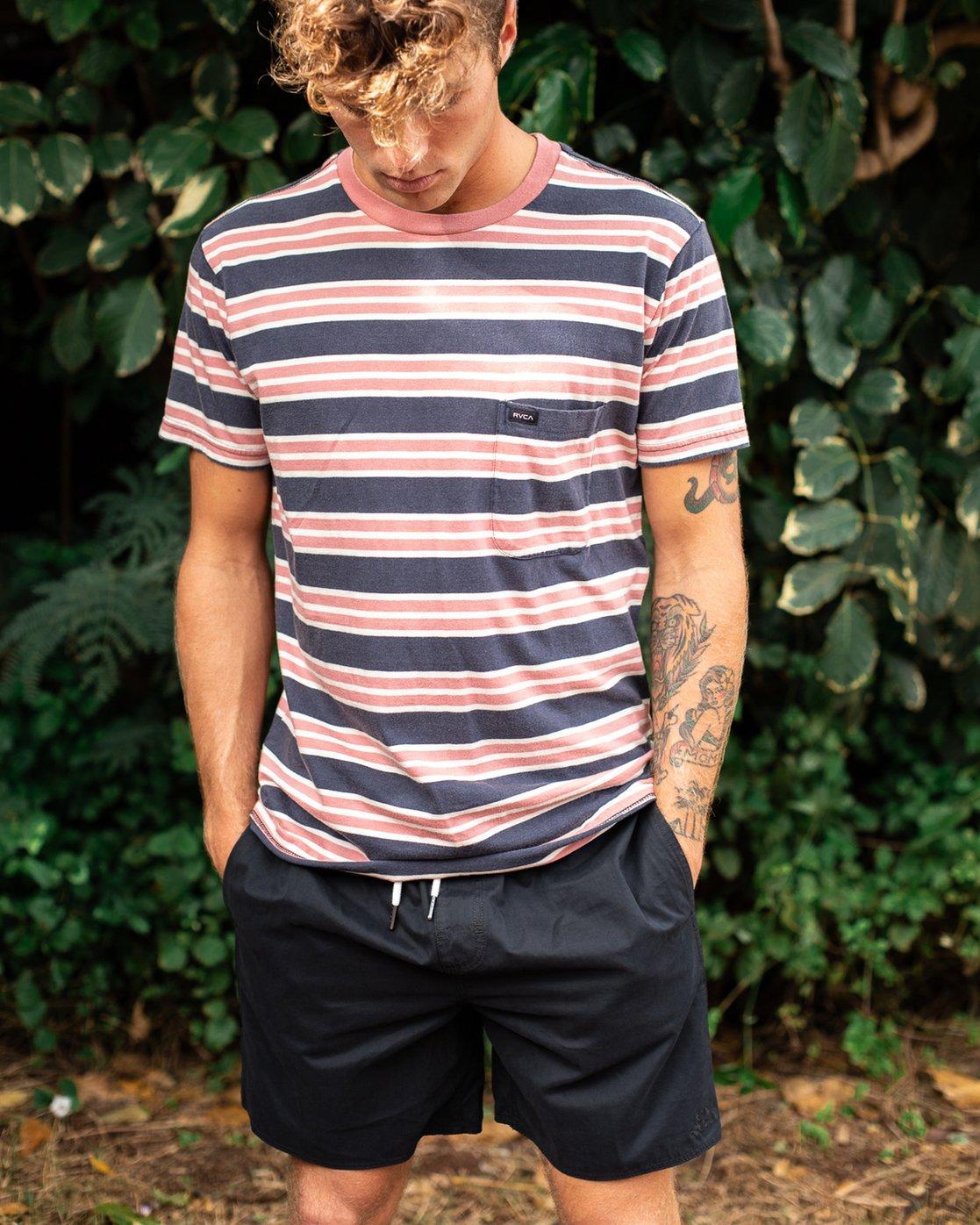 1 Lucas Stripe T-Shirt Blue N1KTRKRVP9 RVCA
