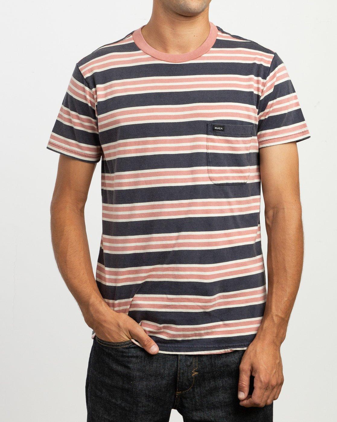 2 Lucas Stripe T-Shirt Blue N1KTRKRVP9 RVCA