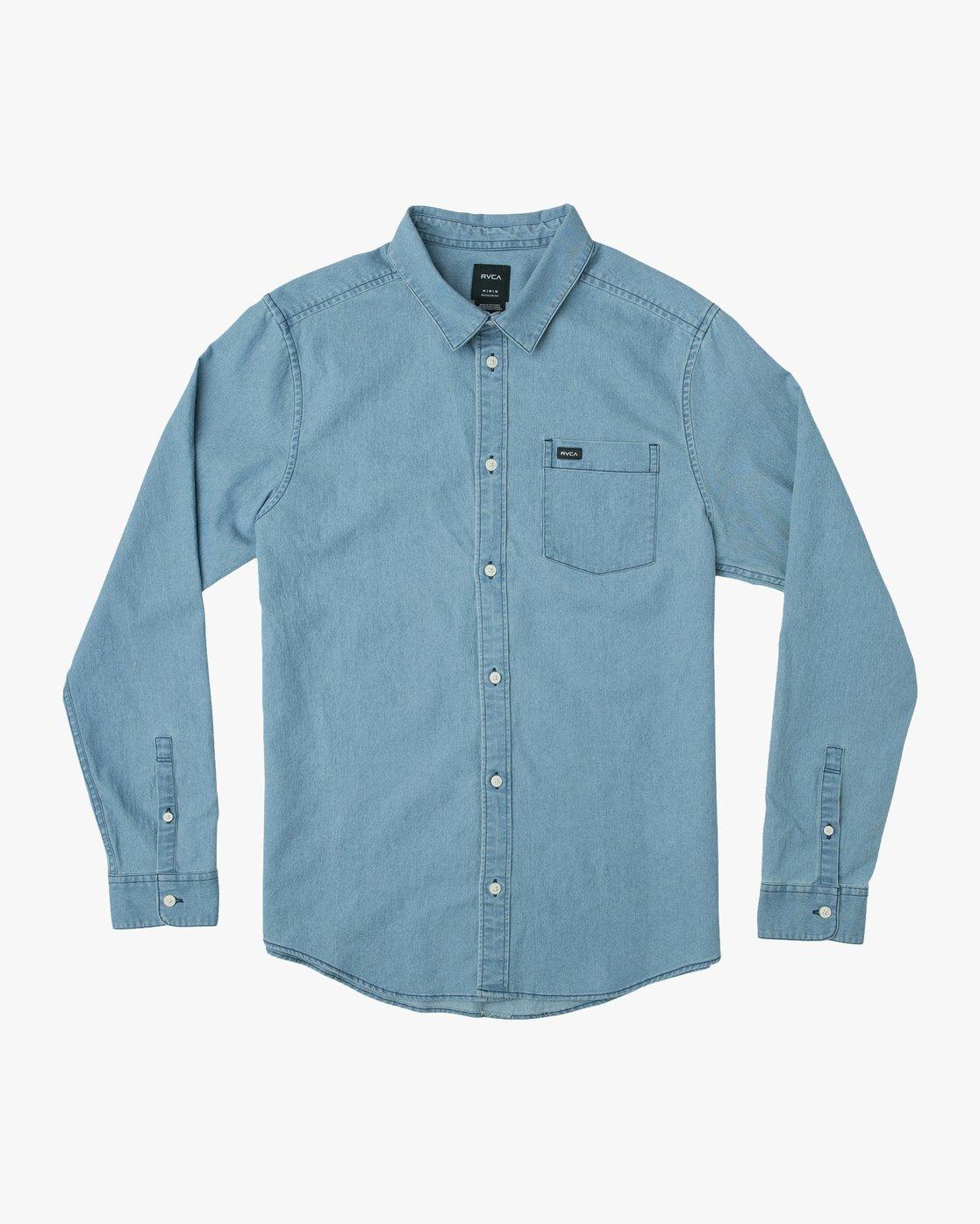 0 Nakama LS Denim Shirt Blue N1SHRTRVP9 RVCA