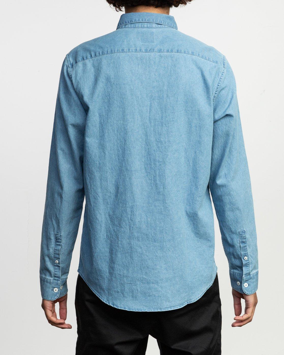 3 Nakama LS Denim Shirt Blue N1SHRTRVP9 RVCA