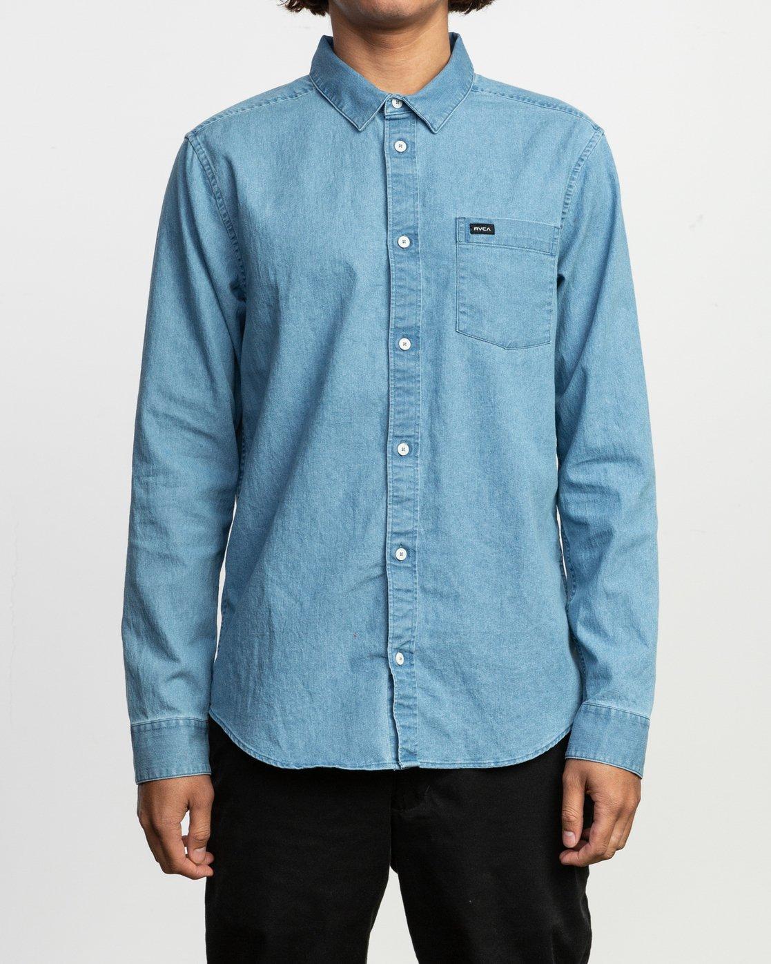 1 Nakama LS Denim Shirt Blue N1SHRTRVP9 RVCA