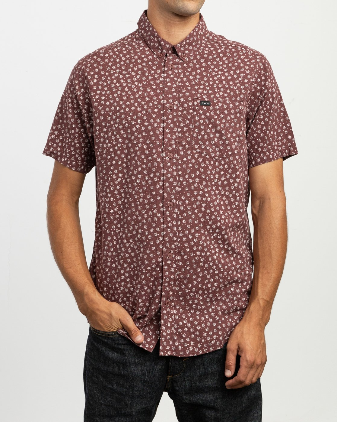 1 Ficus Floral - Short Sleeves Shirt for Men Rot N1SHRWRVP9 RVCA
