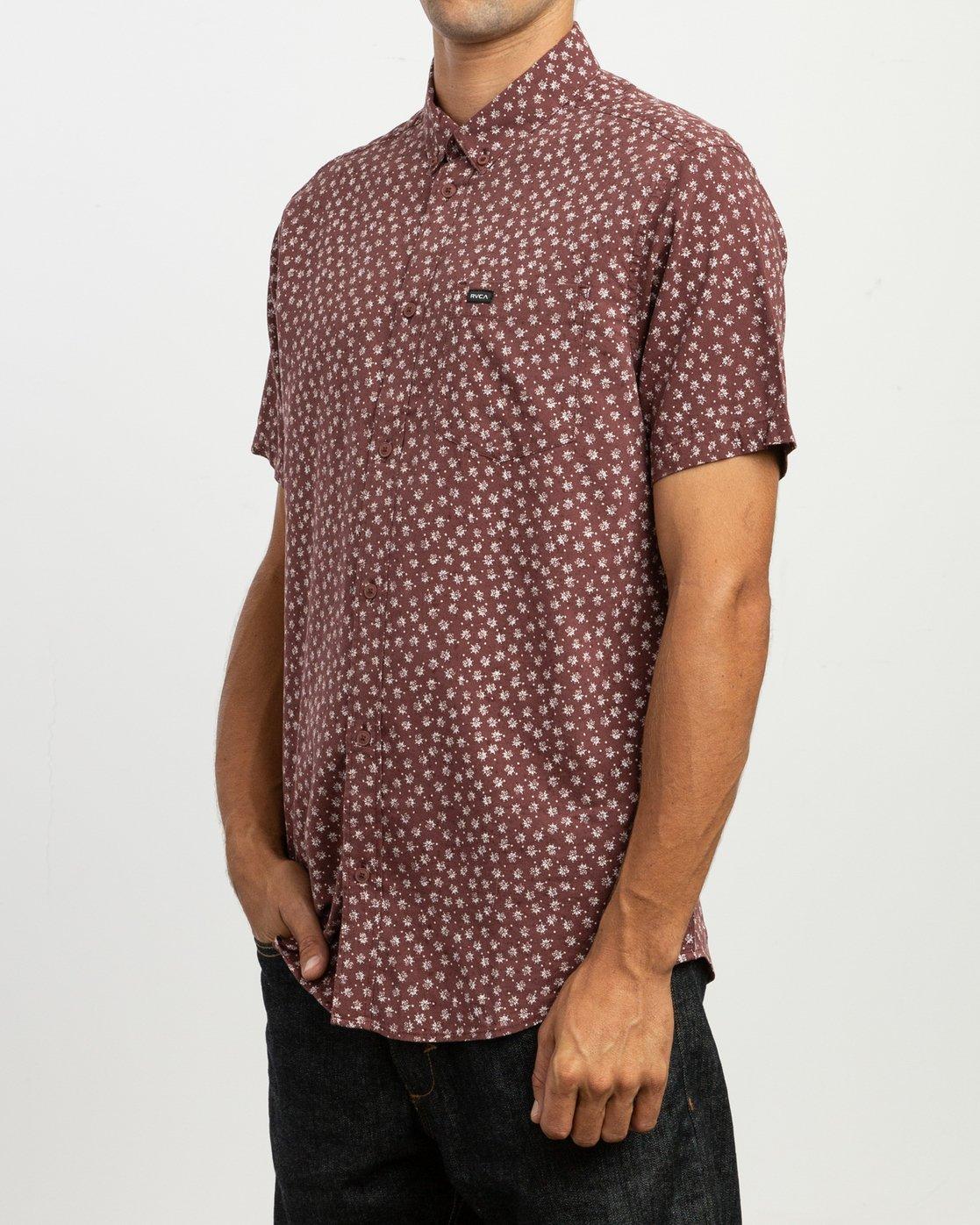 2 Ficus Floral - Short Sleeves Shirt for Men Rot N1SHRWRVP9 RVCA
