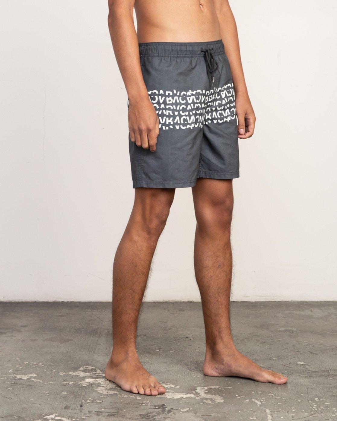 """6 Shattered Elastic Trunk - 17"""" Boardshorts for Men Black N1VORBRVP9 RVCA"""