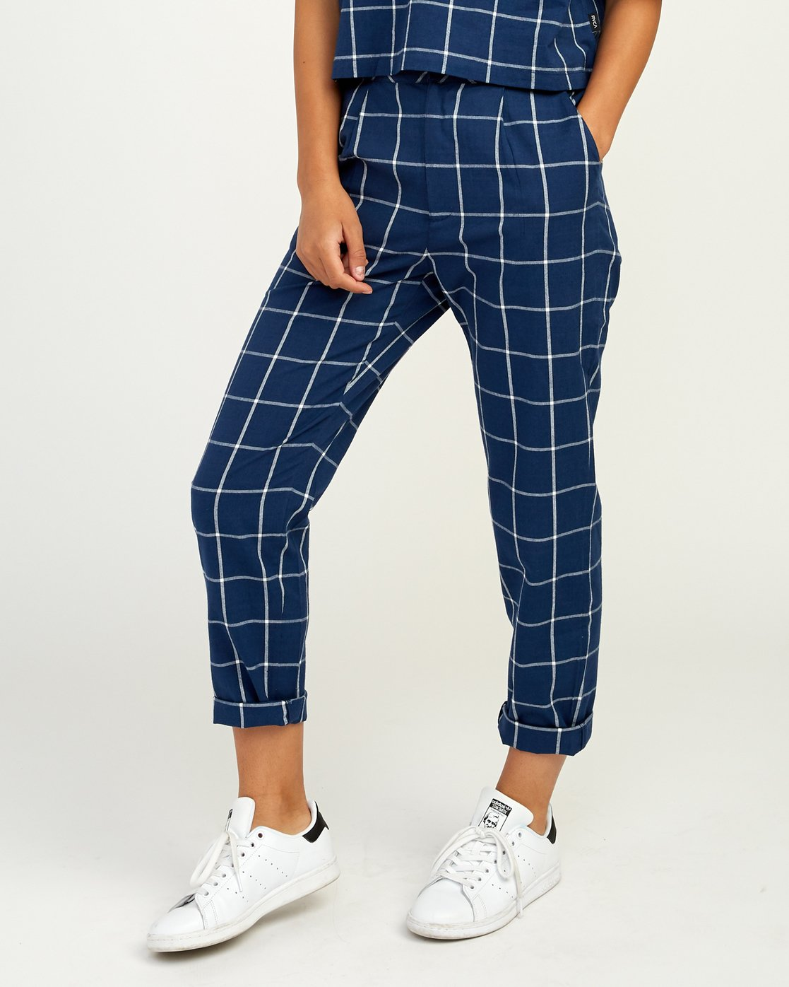 1 Hey Now - Grid Trousers for Women Blue N3PTRDRVP9 RVCA