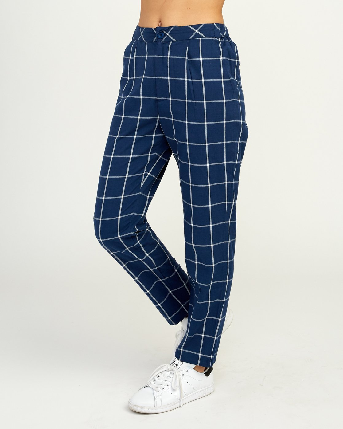 3 Hey Now - Grid Trousers for Women Blue N3PTRDRVP9 RVCA