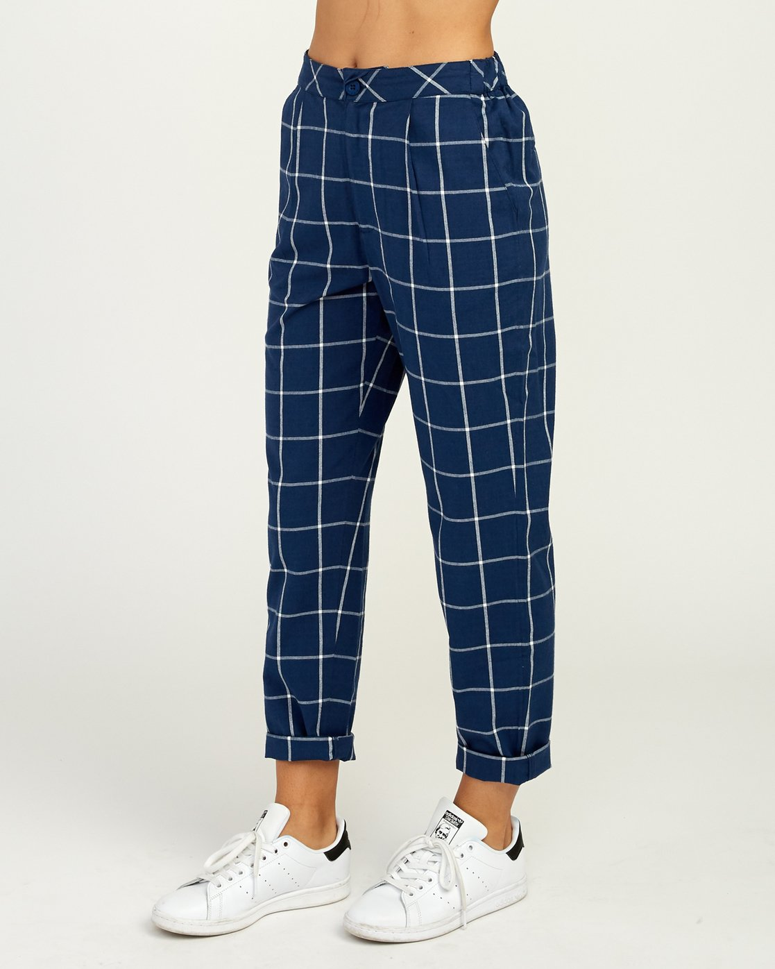 4 Hey Now - Grid Trousers for Women Blue N3PTRDRVP9 RVCA