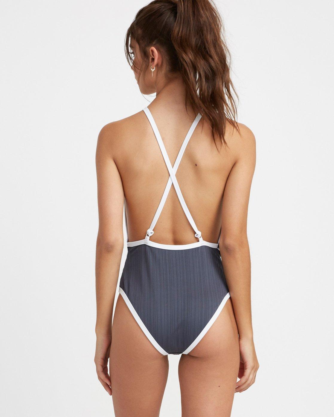 3 Linear One Piece Swimsuit Grey N3SWRERVP9 RVCA