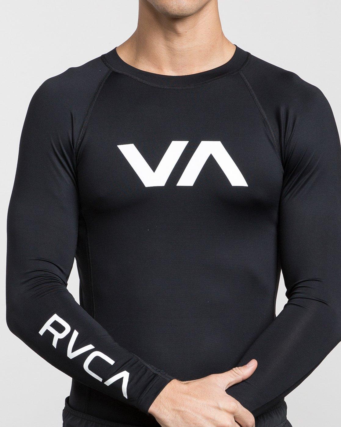 4 Sport Rashguard - Long Sleeve Rash Vest for Men Black N4MYRARVP9 RVCA