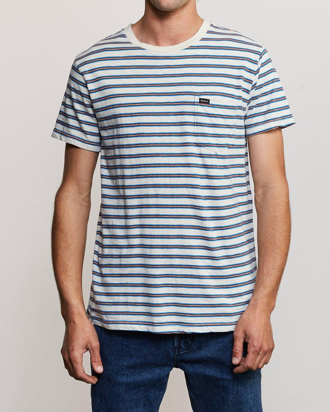 1 Vincent Stripe - T-Shirt à col rond pour Homme Argent P1KTRBRVS9 RVCA