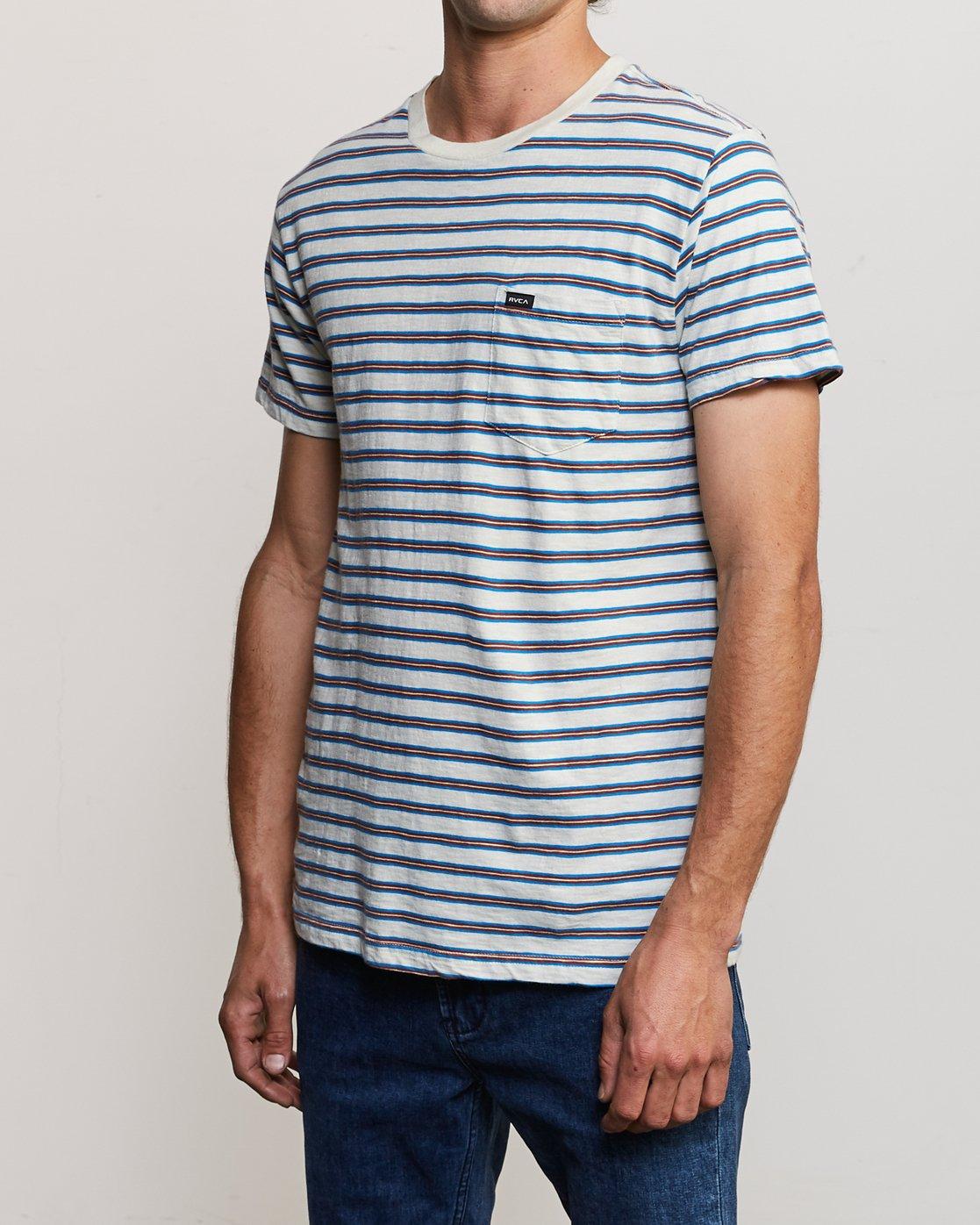 2 Vincent Stripe - T-Shirt à col rond pour Homme Argent P1KTRBRVS9 RVCA