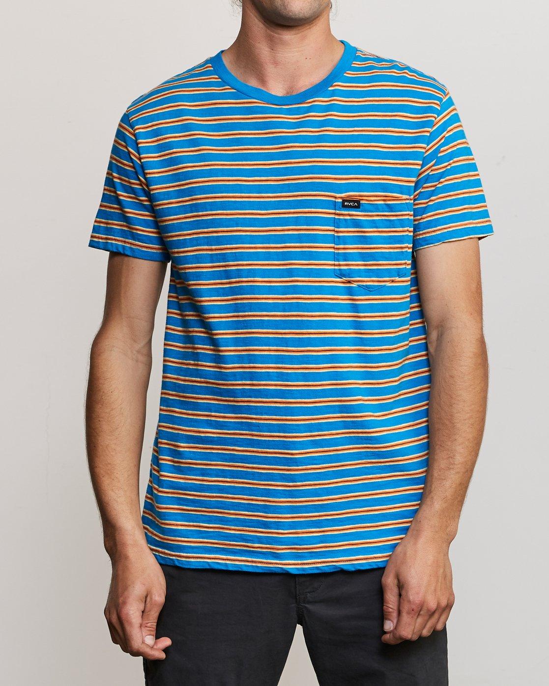 1 Vincent Stripe Crew - T-Shirt for Men Blau P1KTRBRVS9 RVCA