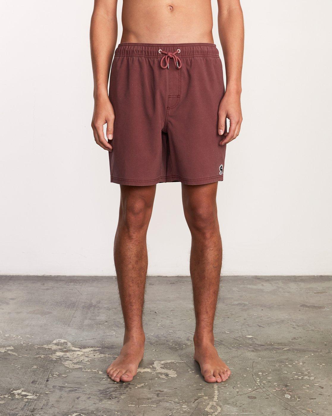 """1 Washer Elastic Short - 17"""" Boardshorts for Men Purple P1VORERVS9 RVCA"""