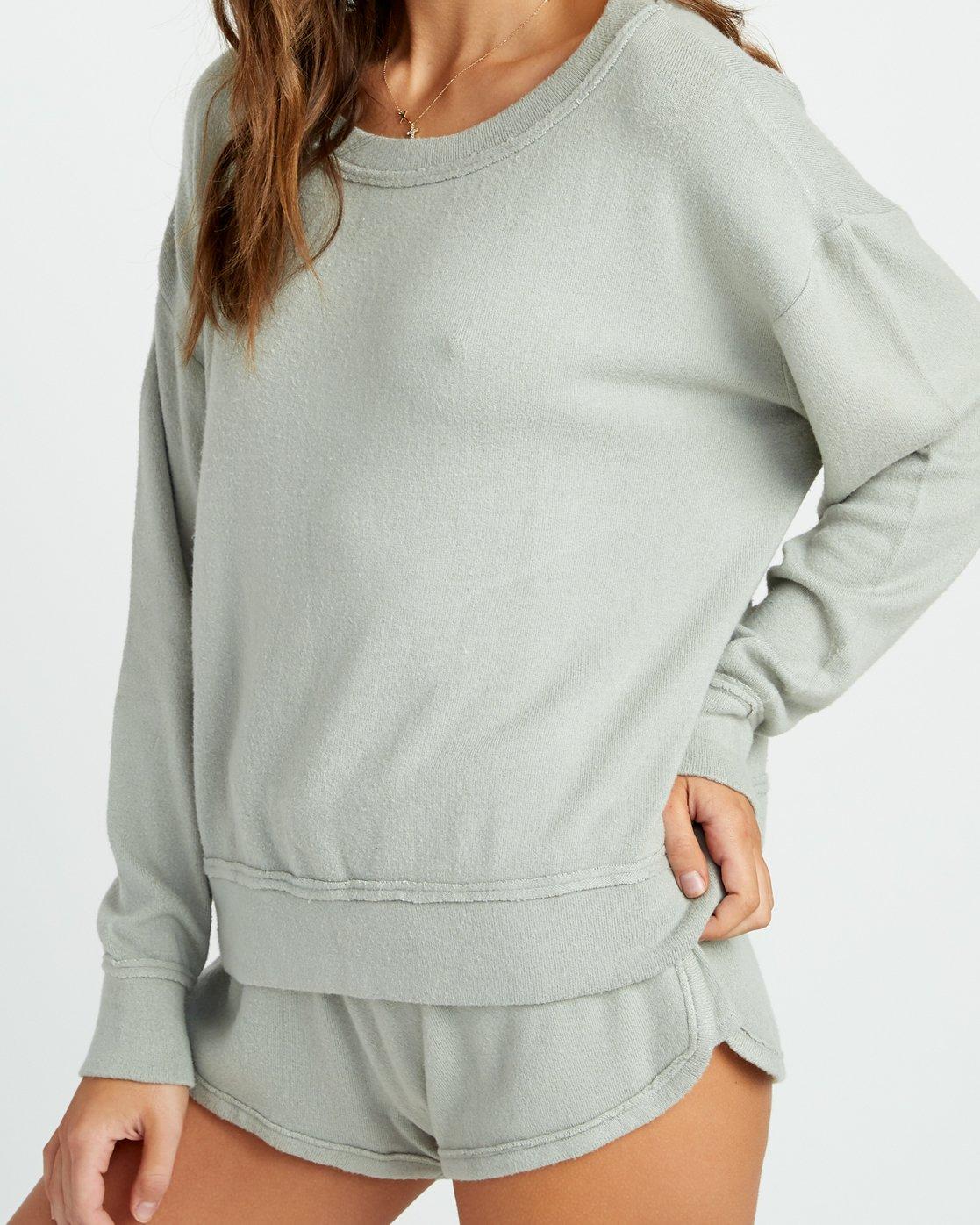3 Daydream Knit Sweatshirt Green P3FLRBRVS9 RVCA